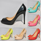 LADIES COURT STILETTO HIGH HEELS PEEP Patent  Leather TOE SHOES SIZE 2-9  86-3