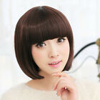 Fashion New Womens Short Straight Ladies Full BOB Hair Lolita Cosplay Wig Brown