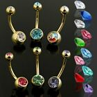 14K Gold Plated 2 Press Fit Gem Navel belly Ring
