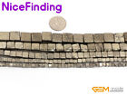 "Natural Sonte Silver Gray Pyrite Beads Fashion Jewelry Making Cube 15""Size Pick"