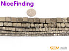 "Natural Silver Gray Pyrite Cubes Square Gemstone Beads For Jewelry Making 15""DIY"