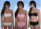 Pushup Bandeau Bikini with Moulded Cups Strapless or Halterneck Sizes 6 - 12