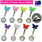 Butterfly Nurse Watch Chrome Pendant Pocket Watch for Pouch with Spare Battery