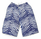 Zubaz Shorts: Navy Blue/White Zubaz Zebra Shorts- New