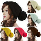 Unisex Ladies Mens Winter Warm Cable Knitted Slouch Bobble Pom Ski Hat Beanie