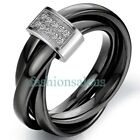 3mm Black Ceramic Rope w/ Silver Color Loop Tricyclic Women's Wedding Rings Band image