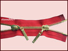 RED ZIP METAL/GOLD TEETH OPEN ENDED & TWO WAY No 5 Different Sizes: 110-58 cm