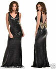 BLACK PLUNGE FULL STRETCH SEQUIN LOW BOW BACK FISHTAIL MAXI DRESS UK SIZE 8-16