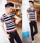 New Mens Stylish Striped V Neck Slim Fit Short Sleeve Casual T Shirt Top 5 Size