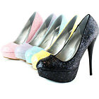 Women Platform Round Toe Glitter Stilettos Casual Wedding Dress Sexy Pump Shoes