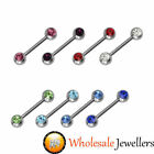 316L Surgical Steel 14G Double Gem Nipple Bar Shield Ring Body Jewellery