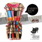 New Women's clothing Multicolored Plaid Printing Round neck Sleeveless dress