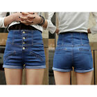 Hot Sale! Lady Sexy Blue High Waisted Hotpants Stretch Shorts Denim Jeans Pants