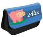 PERSONALISED Hippo Pencil Case Make up Bag - Kids School Great Gift Idea DS