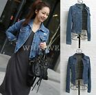 Fashion Women Lovely Long Sleeves Jeans Denim Short Jacket 2 Colors S~L FTK