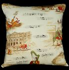 LL325a Beige Black Music Notes High Quality Cotton Canvas Cushion/Pillow Cover