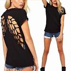 Sexy Hollow Angel Wings Cut Out Back See Through Loose T-Shirt Blouse Top Sz8-20