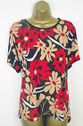 Red Tunic Top Plus Size 20 22 24 26 28 Floral Print Short Sleeve Tunic Top