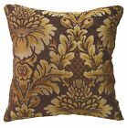 we57a Gold Brown Damask Flower Chenille Throw Pillow Case/Cushion Cover*Cus-Size