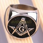 Stainless Steel Free Mason Masonic Freemasonry Symbol Finger Biker Ring Jewelry
