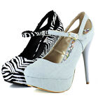 Women Stiletto High Heel Pump Round Toe Mary Jane Platform Ankle Strap Shoes