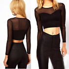 1pc Womens Stylish Sexy Black Mesh Long Sleeve Crop Top Tee Shirt Blouse 3 Sizes