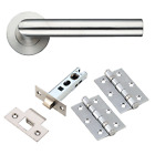 Door Handle Pack Internal Mitred Lever Latch & Hinges Straight on Rose Furniture