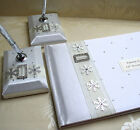 Wedding Guest Book & Matching Pen Set with Snowflakes