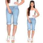 New Light Blue Faded Distressed Long Denim Shorts Capri 3/4 Length Jeans Pants