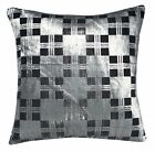 mq08a Silver Metallic Ash Grey Black Checker Shimmer Velvet Style Cushion Cover
