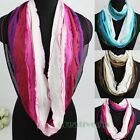 Fashion Women's Colorful Striped Infinity Loop Cowl Eternity Casual Scarf New