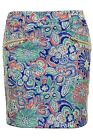 Women's Floral Paisley Print Gold Zip Back Ladies A-Line Party Mini Short Skirt