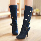 Free P&P Womens Mid Calf Boots UK 2-UK 8 Jeans Shoes HOT Cowboy Boots High Heels