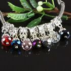 Wholesale Crystal Glass Dangle Loose Beads Fit Charms Bracelet Jewelry Findings