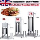 3 5 7L Commercial Sausage Filler Meat Mince Stuffer Maker +Stainless Making Tube