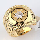 Men's 20mm Band Ring 18KGP with Solitaire CZ Rhinestone Crystal
