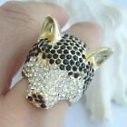 Luxury Rhinestone Cocktail Wolf Ring w Black & Clear Rhinestone Crystal CR37902
