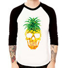 PINEAPPLE-Skull fruit food cute funny art Baseball t-shirt 3/4 sleeve Raglan Tee