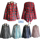 Ladies Raincoat Mac Fishtail Parka Festival Printed Showerproof Jacket sz 8-14
