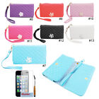 Rhombus Line PU Flip Wallet Card Holder Case Cover Skin For iPhone 4 4S 5 5S 5C