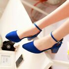 Mary Jane Ankle Strap Boots Cut out Chunky Flat Low High Heel Buckle Block Shoes