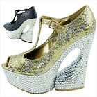 Women Crystal High Heel Ankle T-Strap Maryjane Platform Evening Pump Shoes