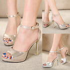 Ladies Ankle Strap High Heels Pumps Stilettos Peep Toe Glitter Sandals Shoes