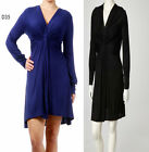 D35 Womens Long Sleeves Work Office Evening Plus Size Empire Waist Party Dress