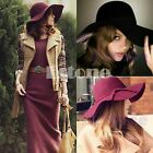 Vintage Women Wide Brim Fedora Hat Felt Bowler Floppy Cloche Outdoor