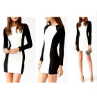 Women Lady Sexy Stretch Bodycon Long Sleeve Party Pencil OL Dress Cotton Blend B