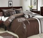 8pc Luxury Bed in a Bag Bedding Comforter Set - ABQ. Brown and Grey