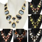 Gold Plated Oval Resin Chain Link Teardrop Bib Statement Pendant Necklace Z33