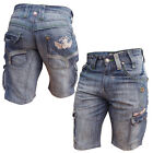 Mish Mash 2135 Al Catraz Light Wash Denim Cargo Shorts Sizes 28 30 WAS £59.99