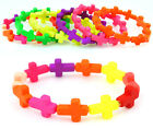 Resin Cross Stretch Bracelet - holy jesus braclet neon UV bracket